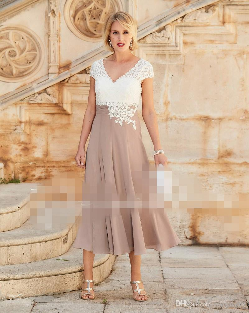 2019 Newest Mother Of The Bride Dress V Neck Applique Lace Chiffon Pleated Tea Length Formal Evening Dresses Real Image Custom Made