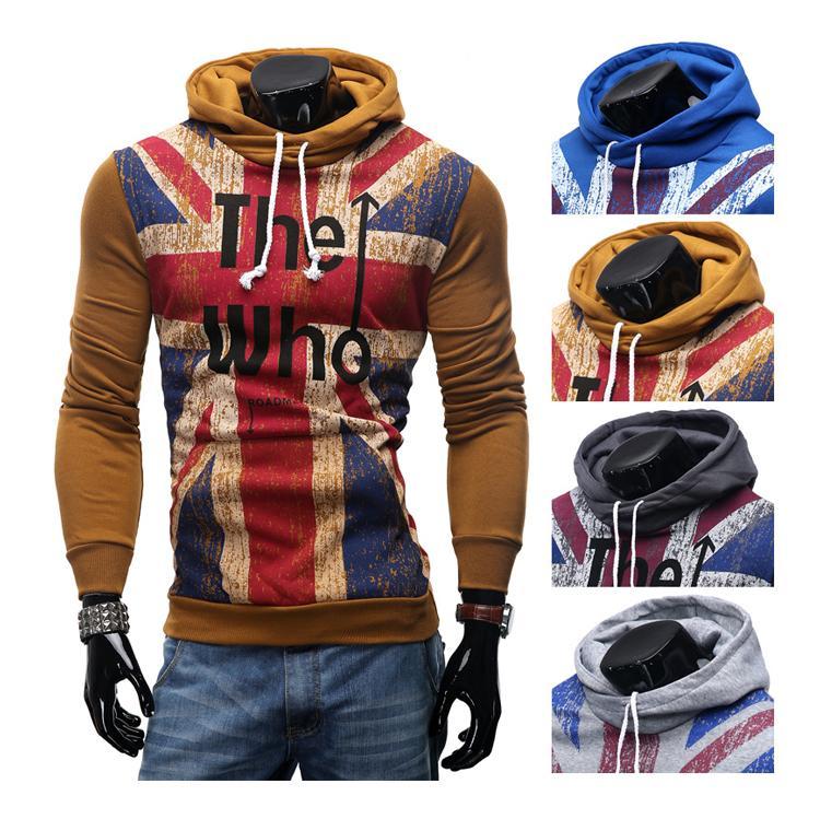 Le nouveau chandail des hommes Sweatshirts chandail Union Jack impression coton chandail à capuchon décontracté couverture homme veste vêtements