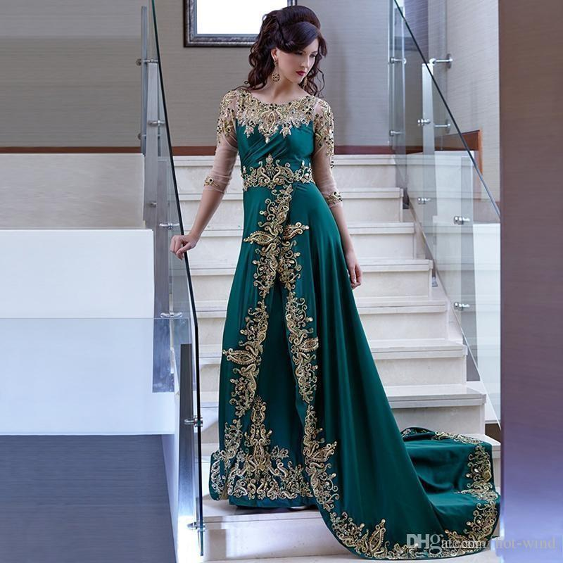 Arabic Dubai Hunter Green Sheer Long Sleeves Evening Dresses Gold Lace Appliqued Embroidery Beaded Celebrity Prom Dresses With Sweep Train