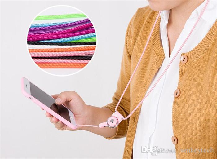 Cordones de teléfono celular de 50 cm Correa de cuello de tela tejida Collar de cordón desmontable con es para teléfono celular Tarjeta de identificación de cámara mp3 mp4