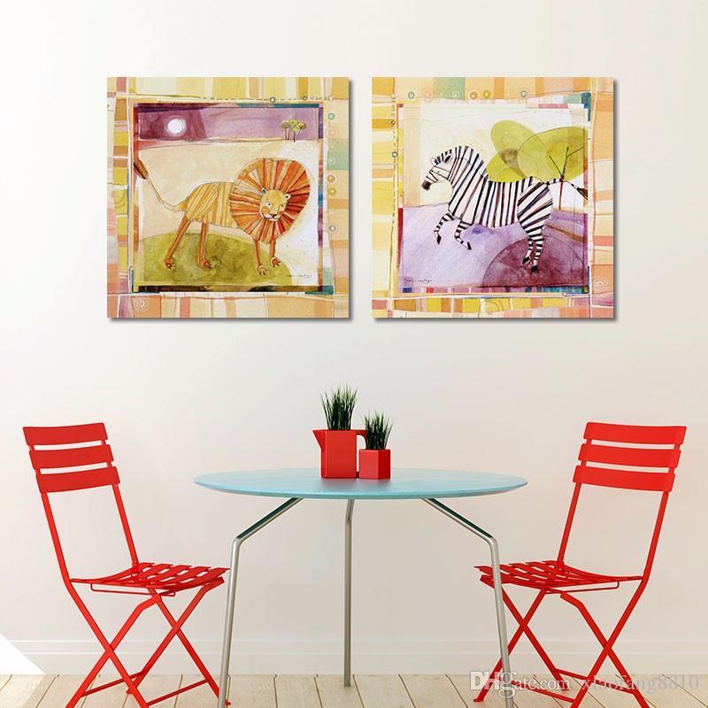 Мультфильм животных граффити украшения лев слон зебра жираф wall art картина плакат плакат холст детская комната без рамы