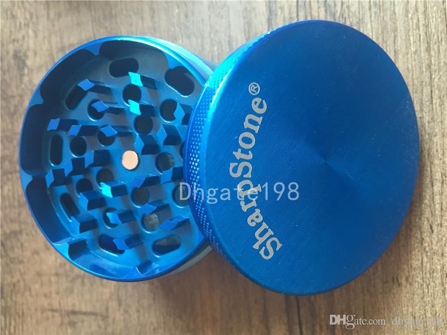 63mm SharpStone Mühlen Legierung Herb Tobacco Grinder Herbal Sharp Stone Grinder Spice Crusher Zigarettenmaschine Magnet Sieb innen