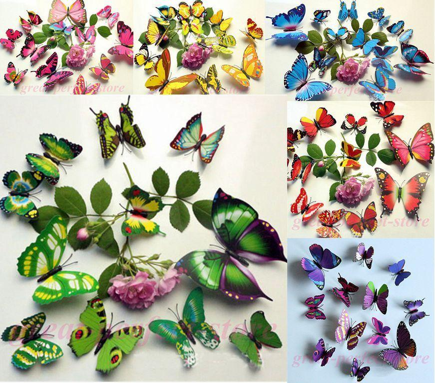DIY 3D Butterfly wall stickers home decor for living room,bedroom,kitchen,toilet,and Festive wedding decoration