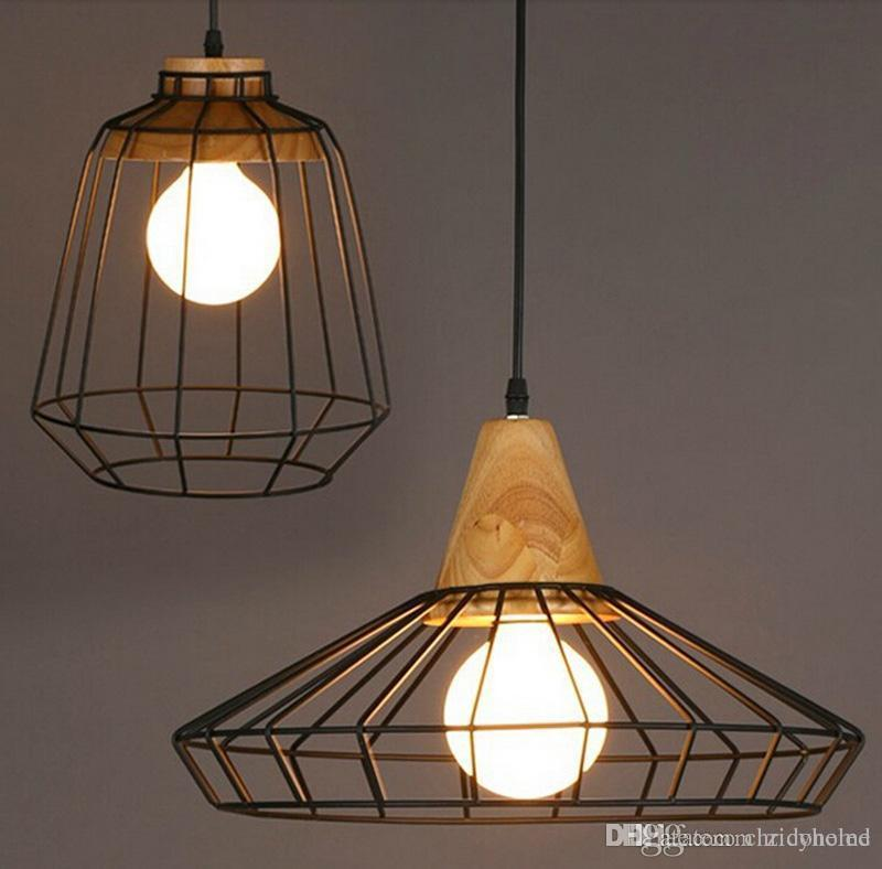 Retro loft led industrial pendnat lighting wooden pendant chandelier bar kitchen home decoration - Industrial lighting fixtures for kitchen ...
