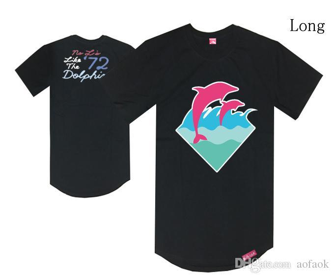 ярус стильный розовый дельфин мужчины футболка мужские рубашки топы джемпер трикотажные изделия хип-хоп одежда человек лето M-XXL черный хлопок