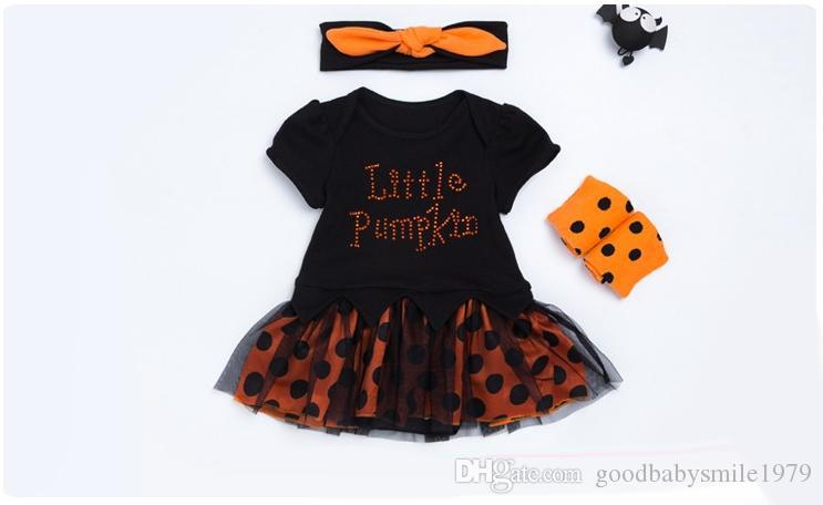 2017 Halloween Children Sets pumpkin Dots Girls Dress Clothing Sets baby rompers onesie + headbands + polka dot leggings outfits