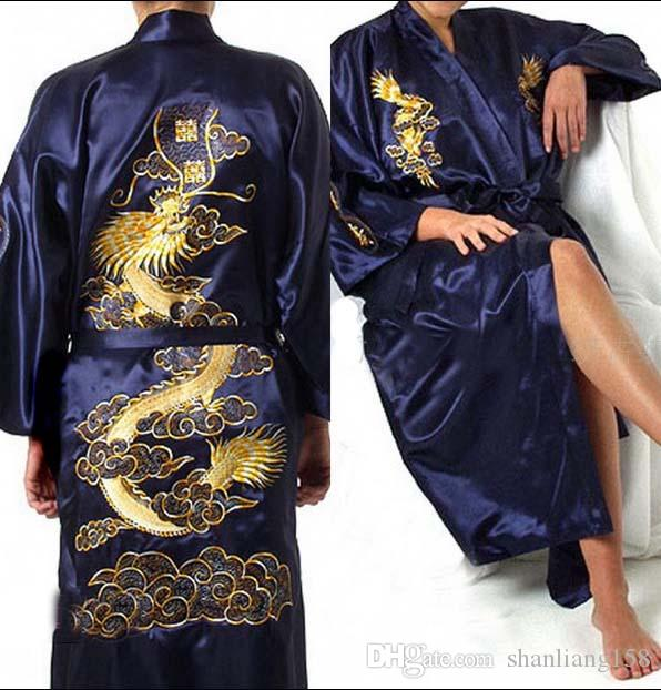 4141eb4707 2019 Embroidery Dragon Robes Men And Women Silk Kimono Robe Pajamas  Nightdress Sleepwear Broken Flower Kimono Underwear From Shanliang158