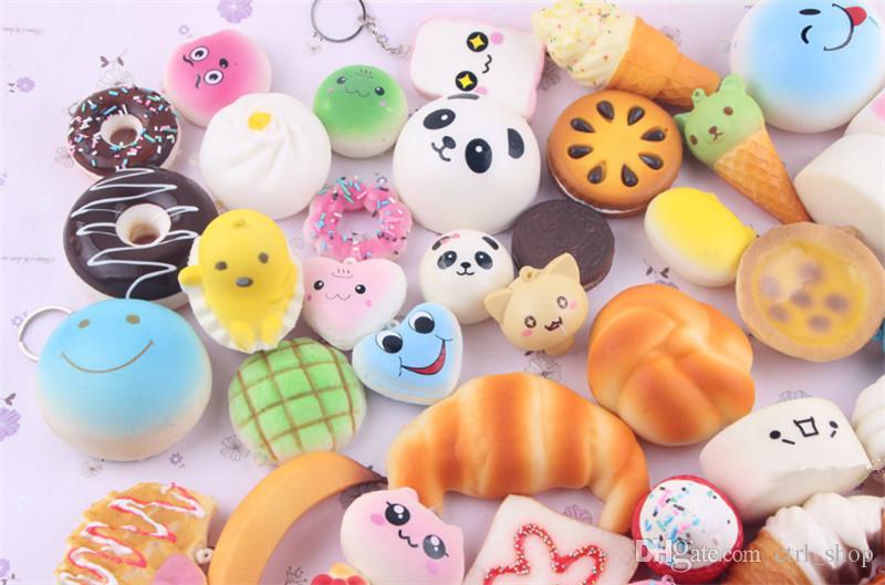 Kawaii Squishies Pão Torrada Pão Donut para o telefone celular Saco Charme Straps Atacado misturado Raro Squishy lenta corda de subida DHL Livre