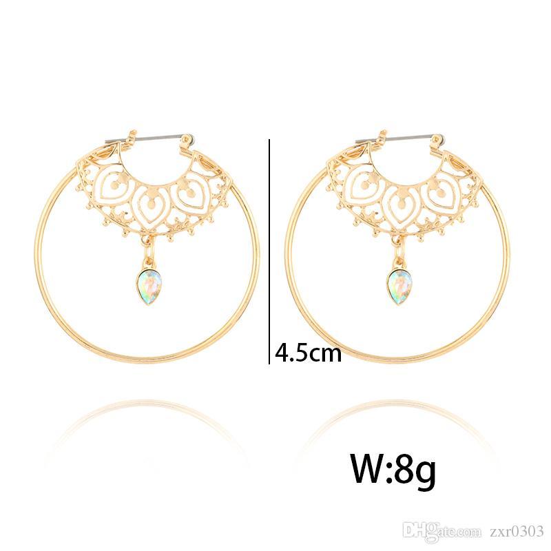 Orecchini d'epoca oro antico cerchio di cristallo intaglio cavo ciondola gli orecchini le donne punk lega orecchini pendenti