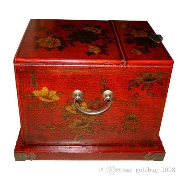 Wholesale cheap New Large Red Chinese Painted Lacquer Jewellery Box / have with Mirror /