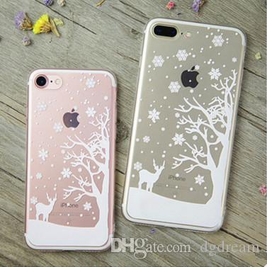 christmas for iphone 7 case xmas snow flower series tpu soft phone case for iphone 6 6s 7 plus snowflake elk crystal clear cover case xmas top rated cell