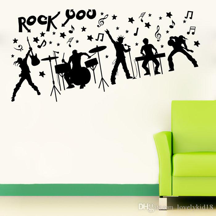 Fashion rock band wall stickers music notes figure wall decals art for room home decorations ws493 wall graphics vinyl wall lettering decals from