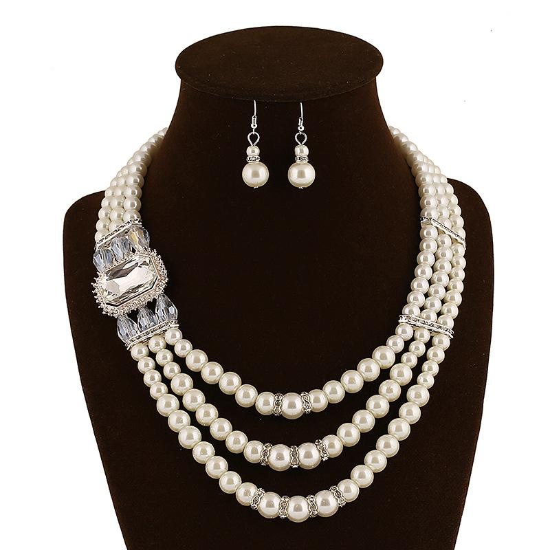 Necklace and Earrings Imitation Pearl Beaded Crystal Leaf Golden Plated Chains Necklace Earrings Wedding Jewelry Set For Lady