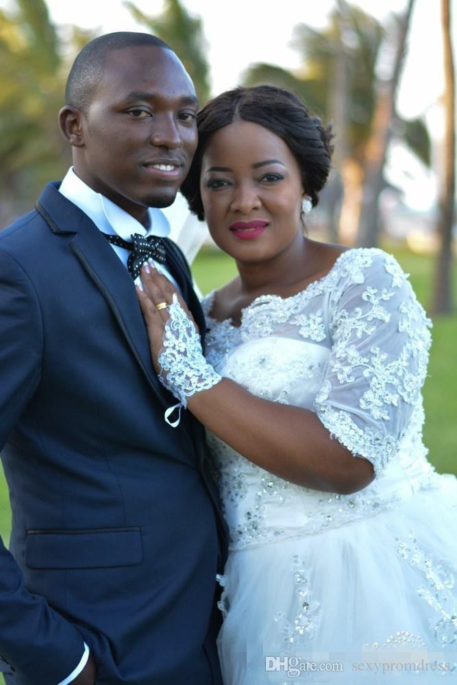 Lace Plus Size Vestidos De Casamento Da Nigéria Sheer Meia Manga Comprida A Linha De Vestidos De Noiva Sul Africano Vestidos De Noiva Custom Made