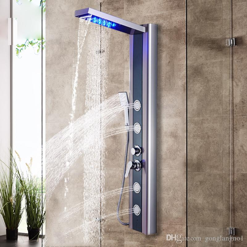 Shower Faucet LED Rainfall Waterfall Shower Head 3 Model Mist Handshower Massage SPA Jets Single Handle Mixer Tap Faucet