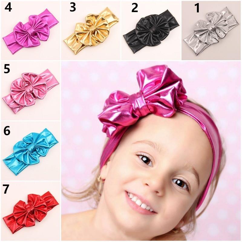 Дети позолочки металлический цвет Большой лук милые повязки младенца день рождения подарок рождественские головные уборы