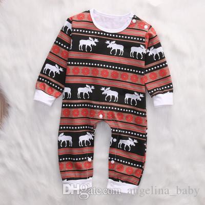 01d44141b281 2019 Baby Christmas Romper Pajamas Toddler Long Sleeve Deer Printed Sets  Sleepwear Infant Girls Boys Nightwear Jumpsuit 3 18M From Angelina baby