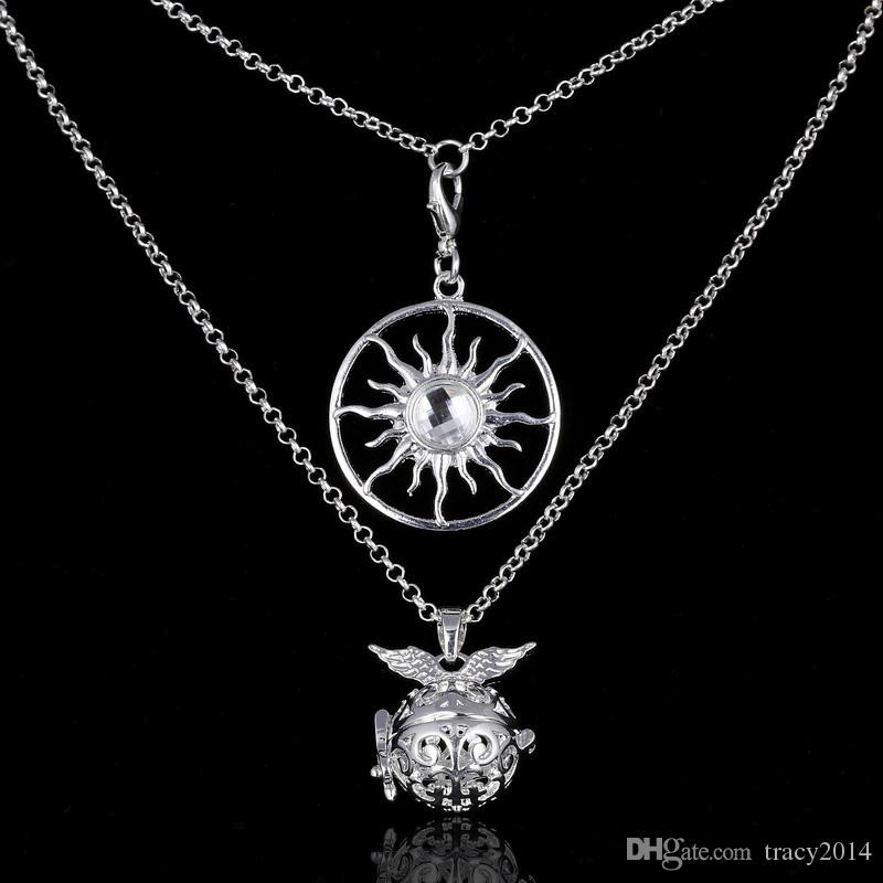 2016 chime Harmony Bola two layer necklace life of tree Fatima Hamsa Hand sun letter 8 Angel ball in pendants Pregnancy Chain Necklaces