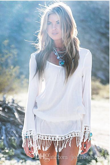 Fashion New Sexy Women Casual White Dress Cheap Lace Crochet Loose Hollow tassel dress Women Summer Beach Sun-proof Swimwear