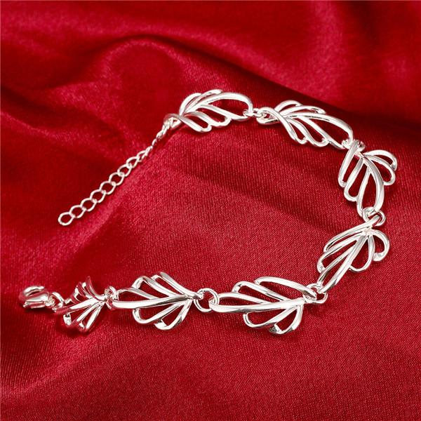 Hot sale christmas gift 925 Hollow leaves bracelet CH425, Brand new fashion 925 sterling silver plated Chain link bracelets high grade