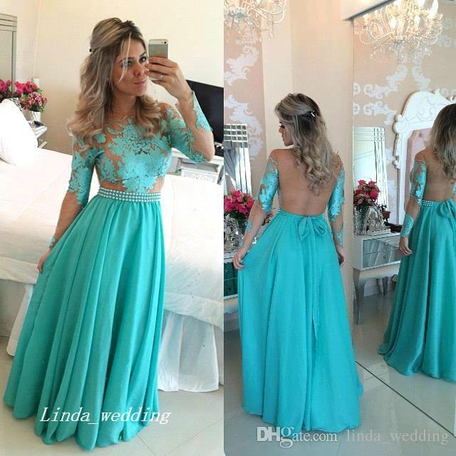 Long Sleeve Turquoise Prom Dress New Jade Green Long Chiffon Formal Party Celebrity Inspired Gown