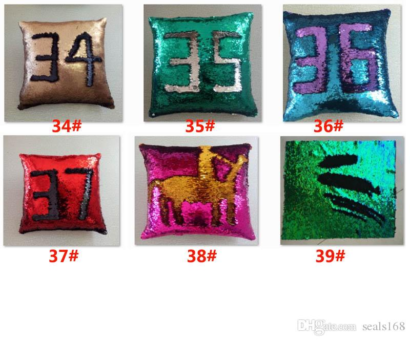Sequin Pillow Case Cover Mermaid Throw Glitter Pillow Cover Reversible Sofa Magic Double Car Cushion Cover Christmas Gifts HH7-276