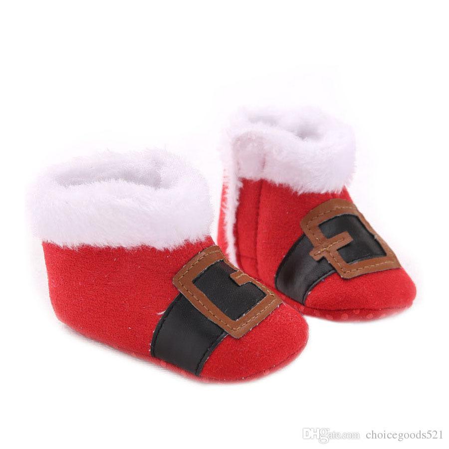 664e9a6cb Compre Zapatos De Bebé Más Nuevos De X mas Zapatos De Niña Boy Warm  Primeros Zapatos De Walker Zapatos De Bebé Rojos De Santa Claus Botines De  Invierno ...