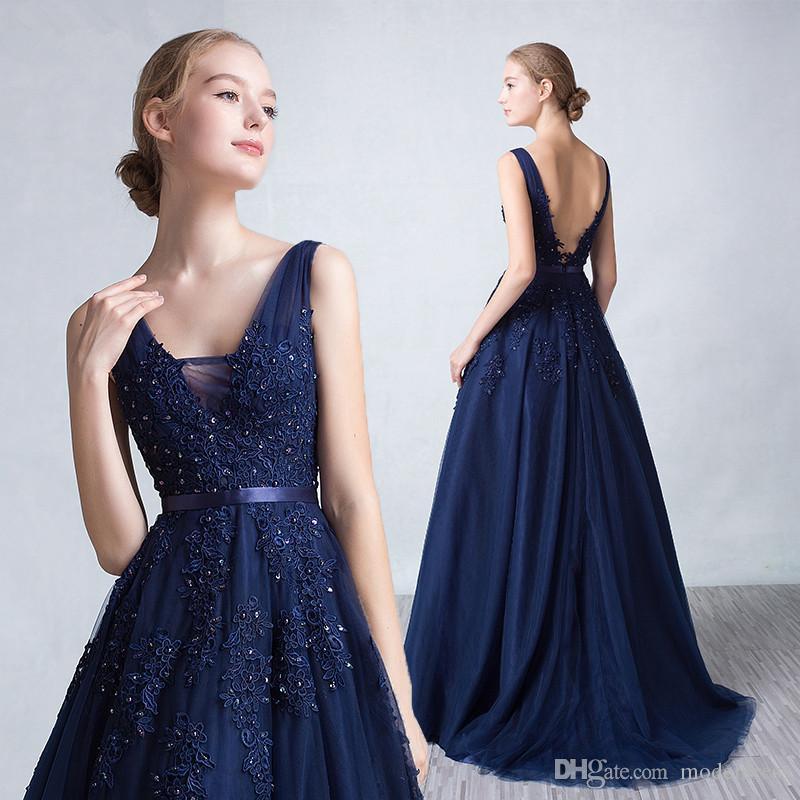 증권 실제 이미지에서 저렴한 놀라운 2019 와인 레드 네이비 블루 댄스 파티 드레스 V 목 아플리케 등이없는 겸손한 자 선발 대회 특별한 가운