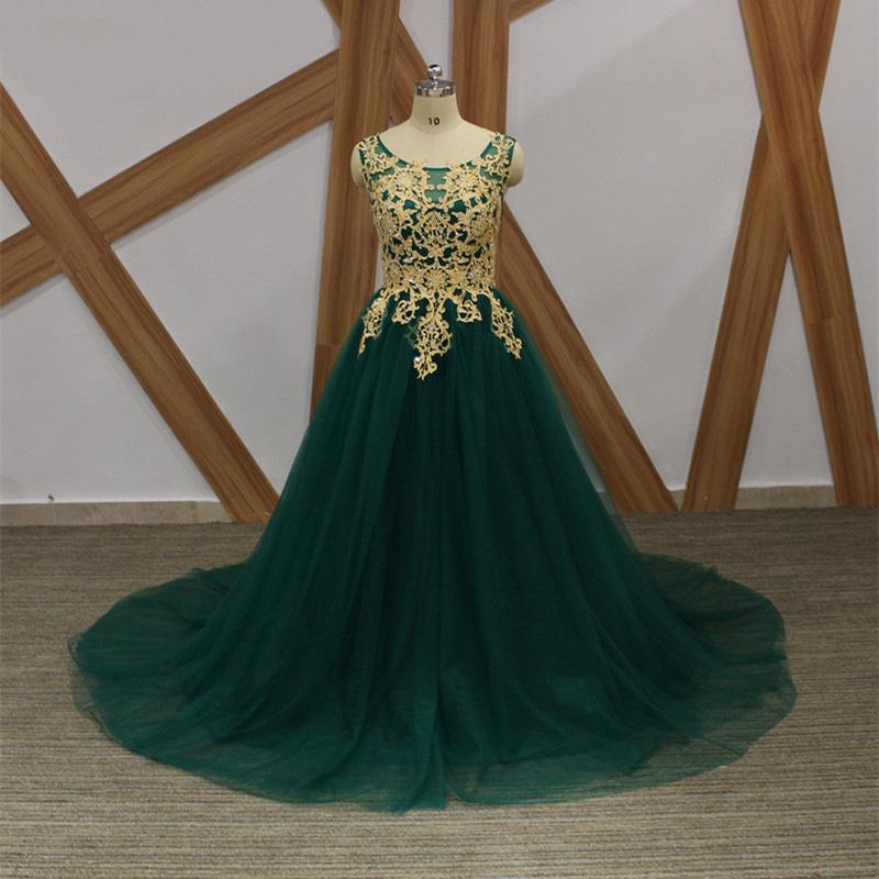 2017 Emerald Green Tulle Plus Size Evening Dresses Appliqued Gold ...