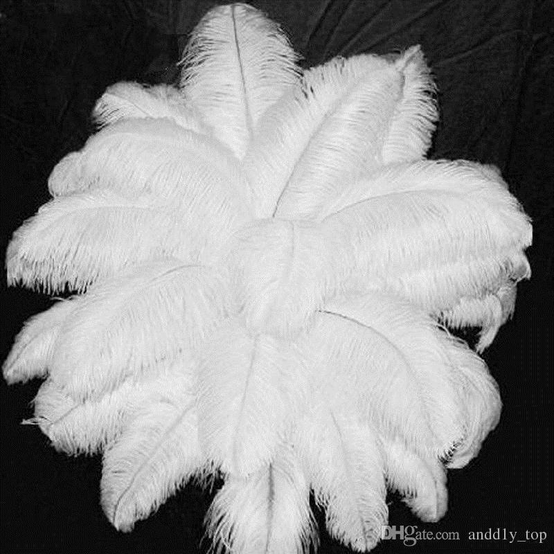 50 шт. / лот 6-26 дюймов страусиное перо белый шлейф Свадебная вечеринка стол Центральным украшения рабочего стола плюшевые рождественский декор