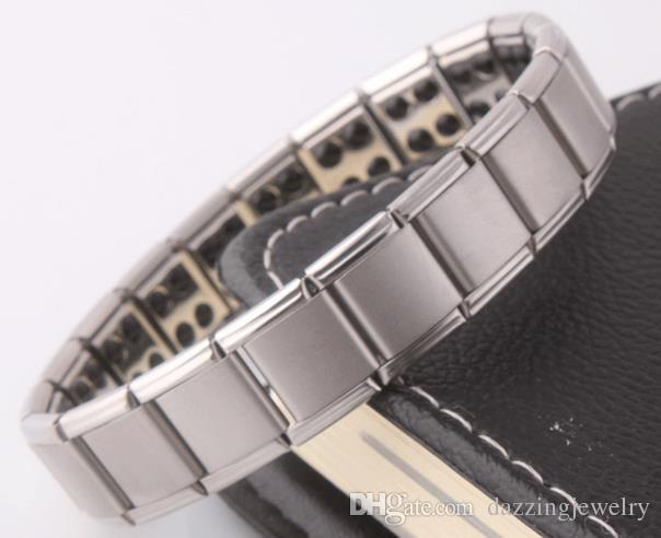 Couple Hommes Femmes Quantum Bio Energy bracelet extensible en acier inoxydable avec Germanium Magnétique Pierre Santé Bijoux Pour Les Amoureux