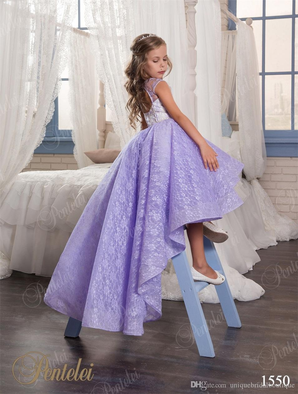 Hi Lo Flower Girls Dresses for Weddings with Crew Neck and Backless 2017 Pentelei Lilac Lace Cute Girls Prom Gowns Light Purple