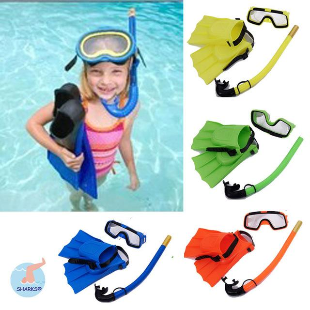 2017 4 colour kid swimming diving child scuba diving equipment snorkeling diving mask goggleflippersbreathing tube swimming pool equipme from mic518