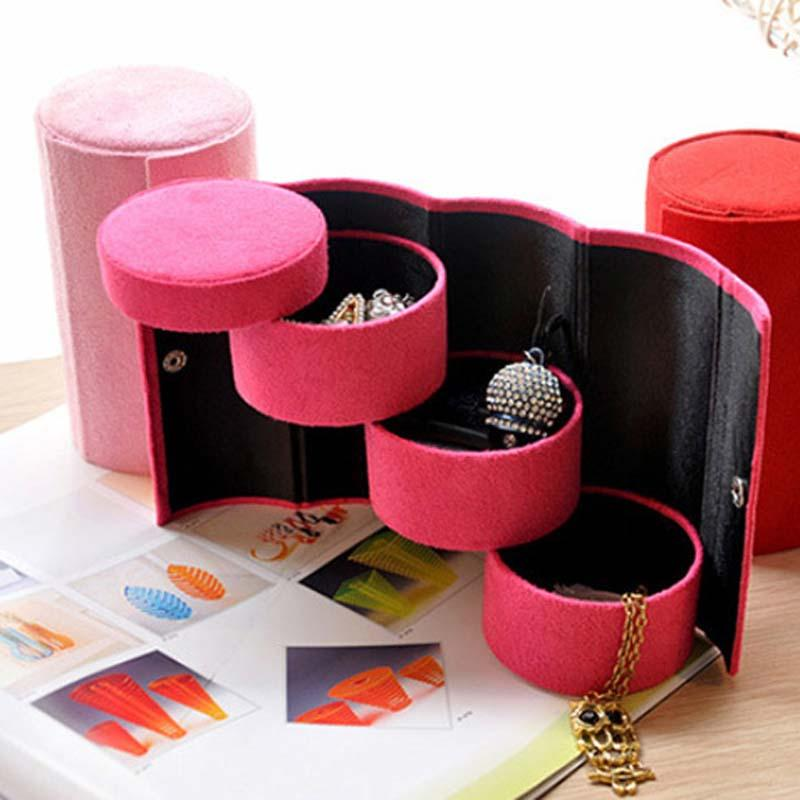 Wholesale Fashion Three-cylinder Velvet Jewelry Storage Box Vintage Jewelry Box Portable Jewelry Boxes and Packaging Wedding Ring Earring Fr