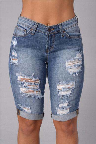 Acheter Longueur Au Genou Déchiré Jeans Pour Les Femmes 2016 Hot Summer  Punk Trous Denim Shorts Jeans Taille Haute Sexy Midi Taille Dsitressed Jeans  De ... 90eba01c66a
