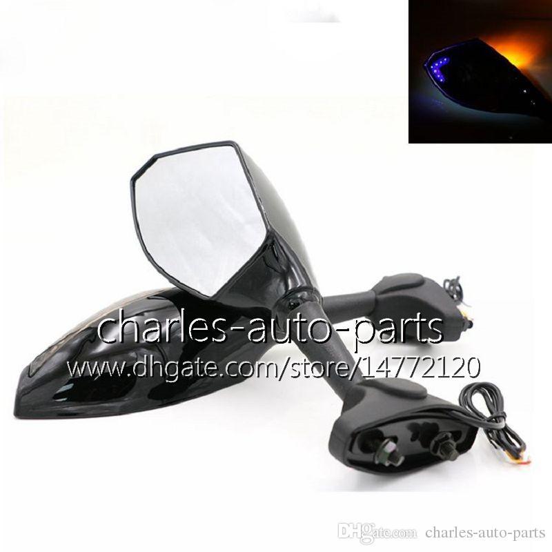 유니버설 오토바이 LED는 신호 거울은 HONDA CBR600RR CBR1000RR CBR600 F4 F4i RR 빛 미러 블랙 카본 LED turnning 빛을 켜십시오