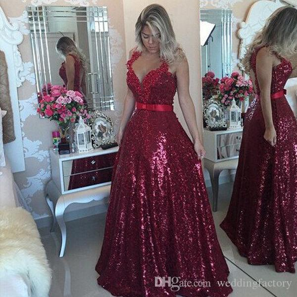 400ad2e614 Bling Bling Burgundy Prom Dress Long Red Wine Sequined A Line Open Back  Formal Dresses Evening Wear Beaded Lace Appliques Bow Sash Custom Prom  Dresses ...