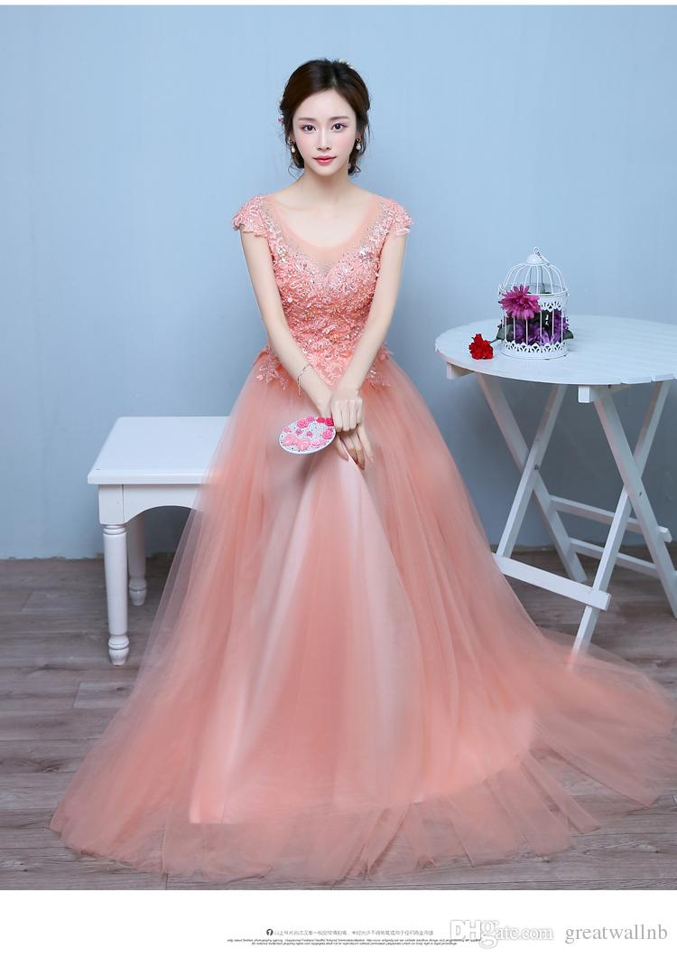 100%real Light Salmon Pink Flower Embroidery Beading Rhinestone Gown ...