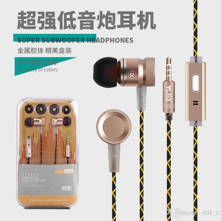 Metal Headphone Super Earphones Bass Volume Control With Mic Headsets For All Mobile Phone iphone 7 samsung Mp3 PC 3.5mm