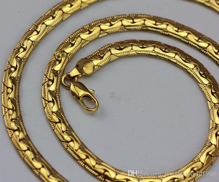 Быстрая бесплатная доставка прекрасные свадебные украшения горячая распродажа! 24k желтое золото елочка змея мужчины цепи ожерелье ширина: 5 мм, длина: 55 см, вес: 21.8 г