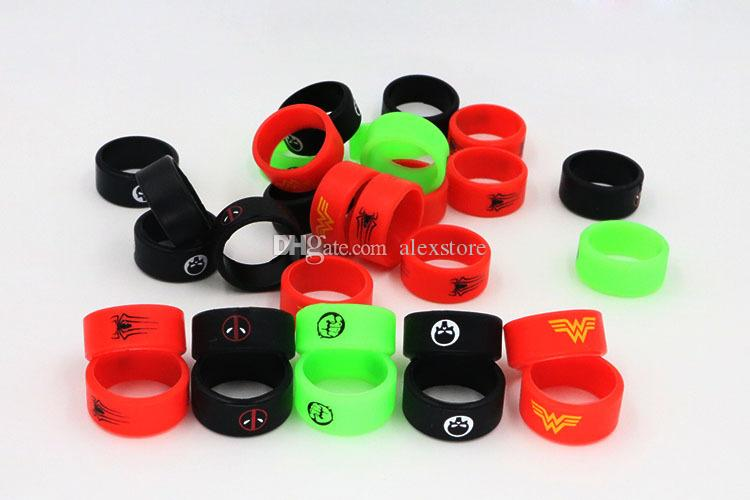 The Punisher Super Hero Fist Batman Skull Silicone Vape Band Silicon Beauty Decorative Ring for Tanks Rda Atomizer Vape Mod Protection DHL