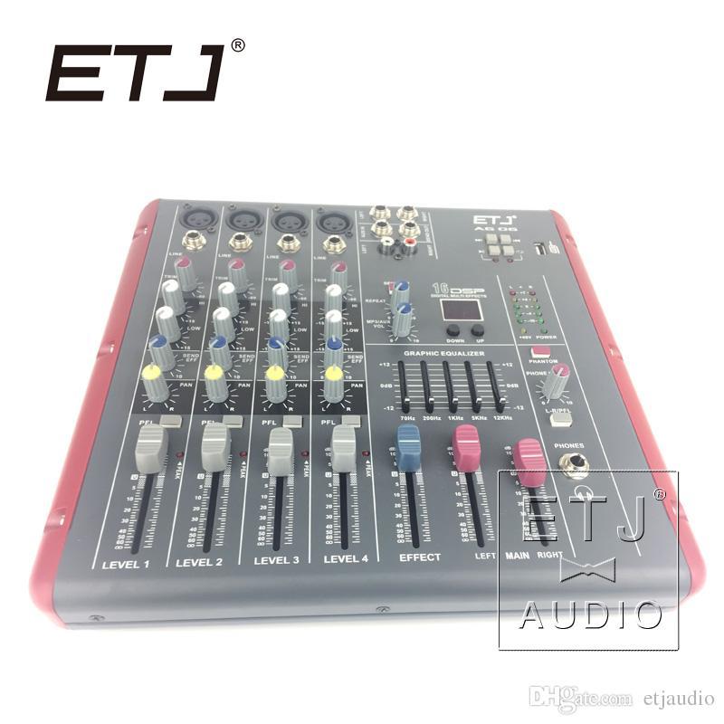 ETJ Brand 16 DSP 4 Channel Ultra Low Noise Bluetooth Audio Mixer 48V  Phantom Power Supply AG06
