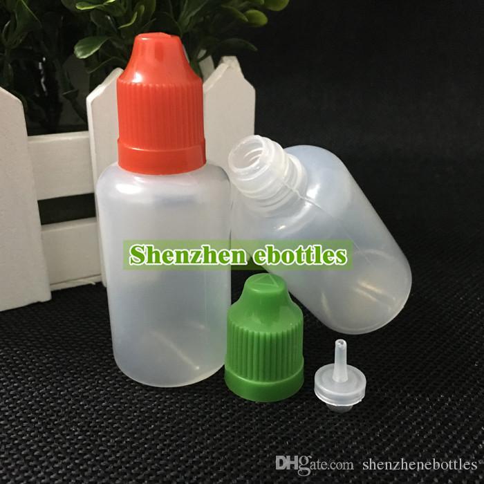 Leere Flaschen Großhandel 30ml Plastiktropfflasche E Flüssigkeit Flasche Kindergesicherte Cap Lange Nadelspitze Dropper freies Verschiffen Flasche