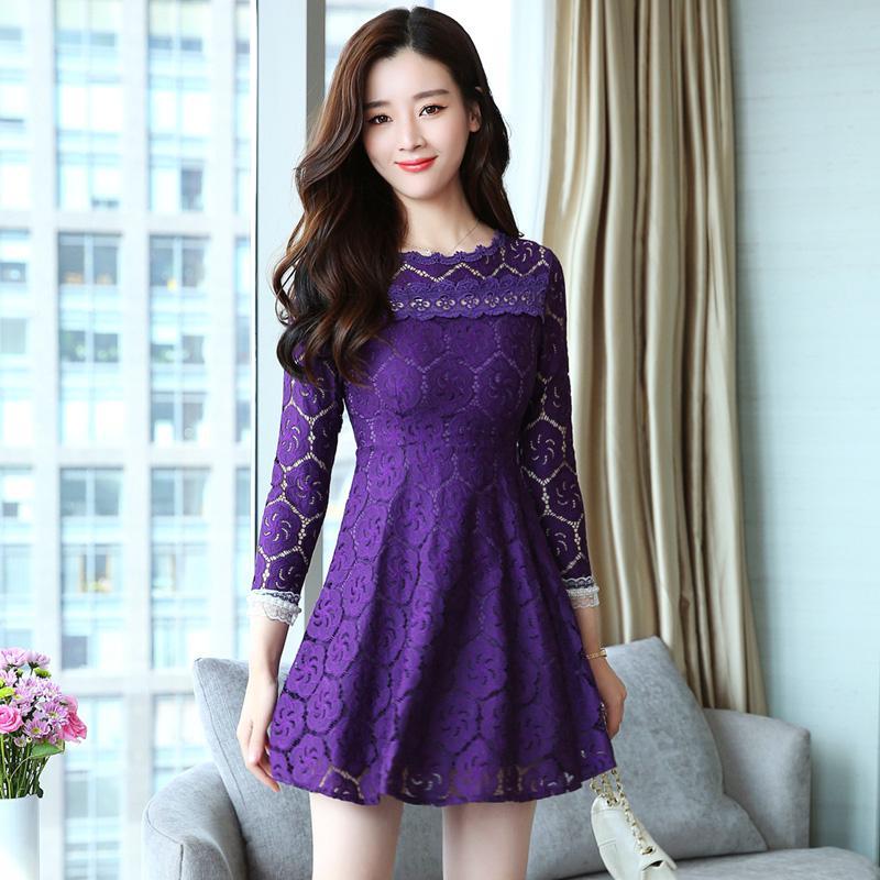 Compre Nuevos Vestidos De Encaje Coreano A Line Patchwork De Encaje ...