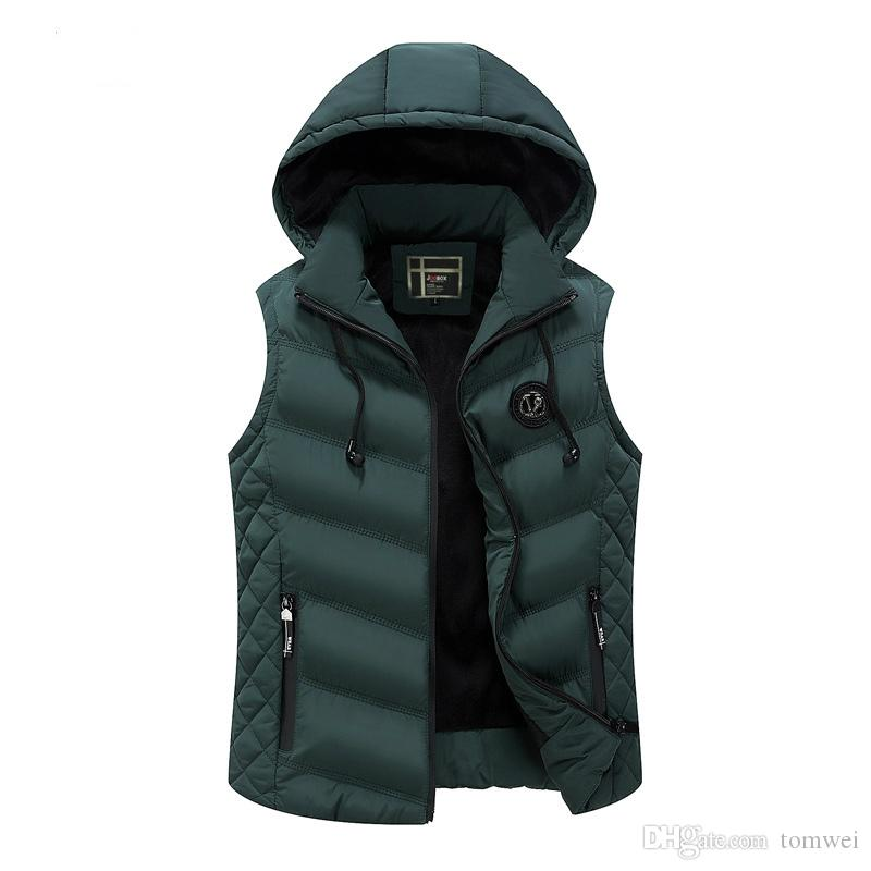 e77cc75e029 2019 Men Winter Waistcoat Hoodies Jacket Coat Down Vest Hood Detachable  Thick Warm Outwear Overcoat Waterproof Zipper Plus Size 3xl From Tomwei