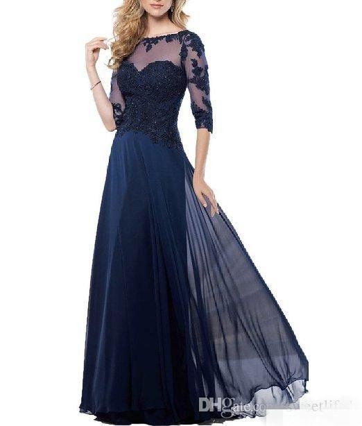 Billig Elegante Chiffon Mutter der Brautkleider Sheer Juwel Hals Spitze Appliques Lange Formale Abend Gelegene Kleider Custom Made_