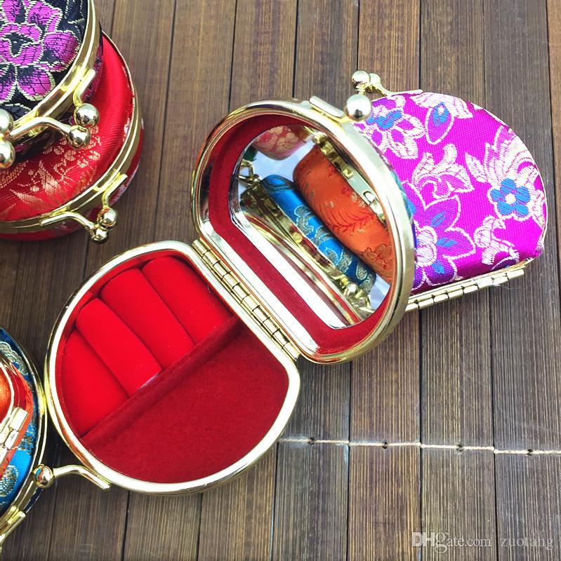 Draagbare Kleine Travel Ketting Ring Sieraden Set Geschenkdoos Display Cases Leuke Zijde Satijn Doek Craft Metalen Gesp Verpakkingsdozen /