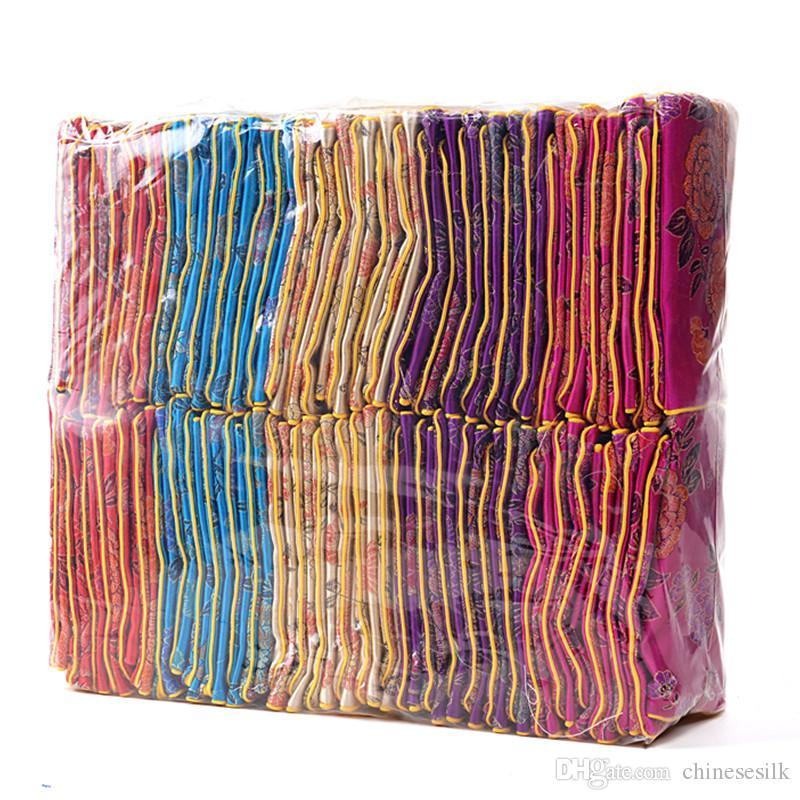 الأزهار الصغيرة سستة عملة محفظة الحقيبة الصينية الحرير الديباج مجوهرات الحقيبة هدية حقيبة المرأة حامل بطاقة الائتمان حقيبة الجملة 6x8 8x10 cm 120 قطعة / ...