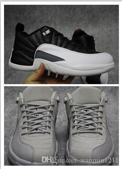 premium selection 0bcfe dbeab NEW 12s Low For mens basketball shoes Playoff Cool Grey sneaker athletic  tennis 12 footwear black orange