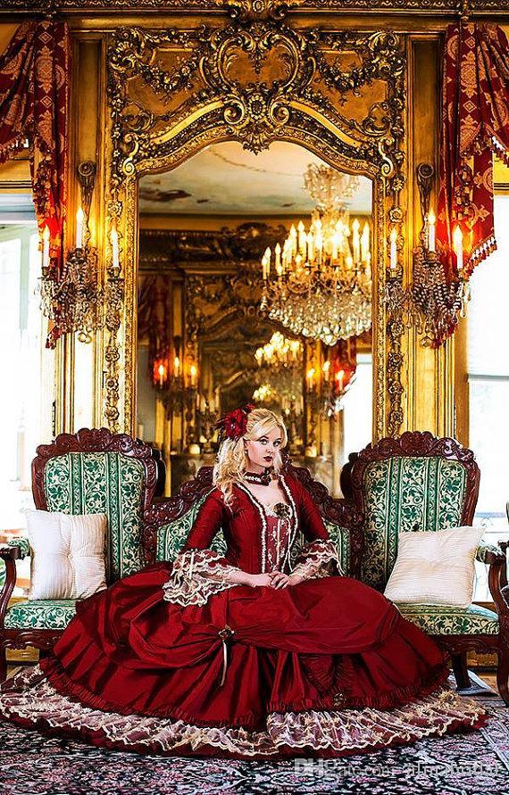 Gothic Vintage mittelalterliche rote Brautkleider mit langärmeliger Rückseite Korsett Bogen Band drapiert viktorianischen Spitze Ballkleid Brautkleid